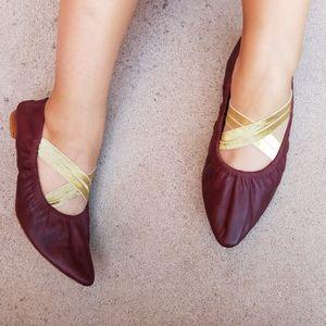 Free People Maroon Leather Pointed Toe Flats S3